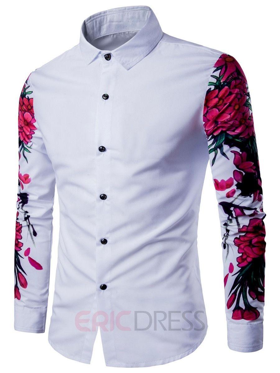 Men Luxury 3D Stripes Floral Print Long Sleeve Dress Shirts Tops Size US M L New