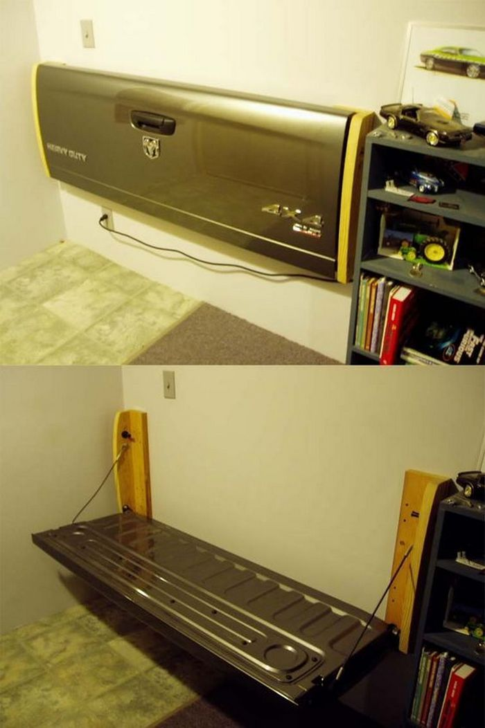 How To Make A Tailgate Wall Bench Garage Decor Wall Bench Man Cave Home Bar
