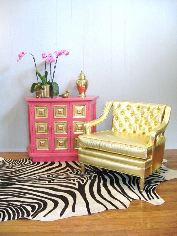vintge hollywood regency glam button tufted gold by fabulousmess deko pinterest deko. Black Bedroom Furniture Sets. Home Design Ideas