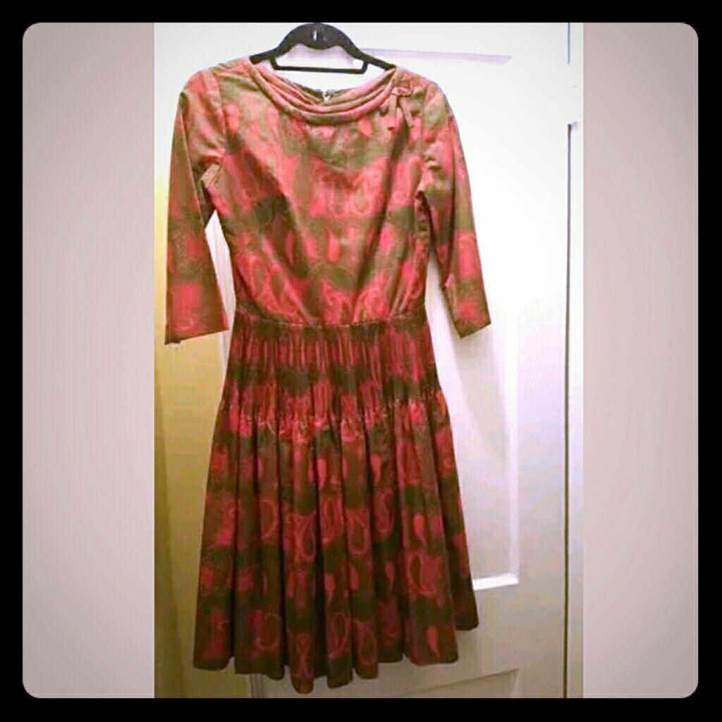 60s green dress  Vintage Dress s s Green Red Orange Paisley