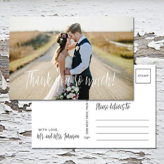 Wedding Thank You Postcard-Thank You Postcard-Mailable-Postcard - wedding postcard