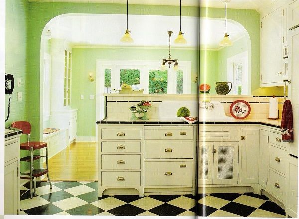 Kitchen Decor Themes Kitchen Minimalist Green Kitchen Theme With Classy  White Countertop And Exotic Cabinets And Black And White Pattern Floor  Vintage ...