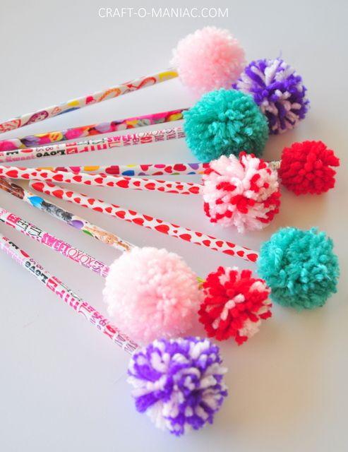 Diy yarn pom pom pencils fun diy yarns and crowd for Craft with woolen thread