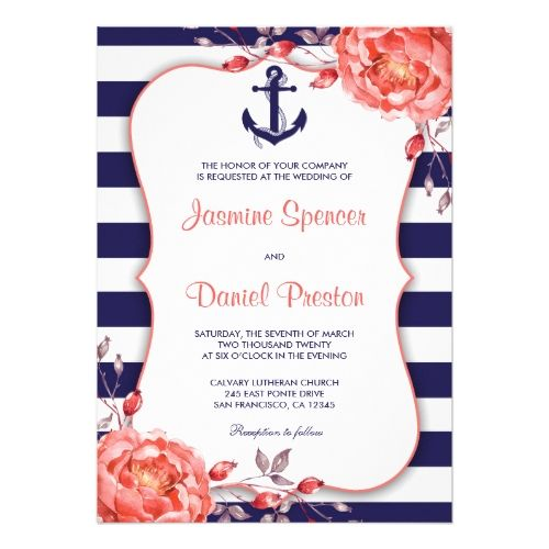 Blue Wedding Invitations Nautical Stripe Navy Blue And Coral Wedding Invite