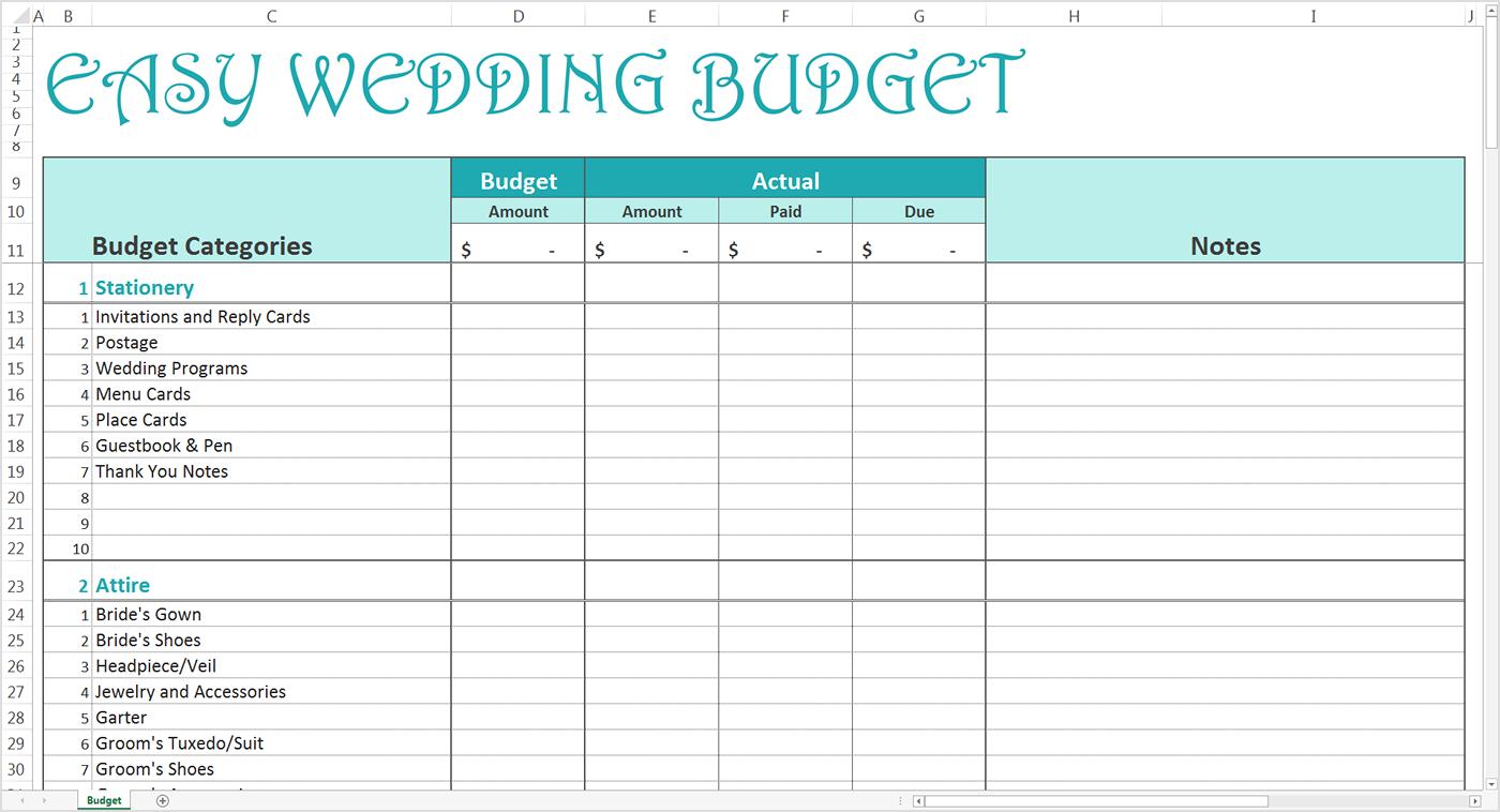 Sample Excel Templates: Wedding Budget List Excel