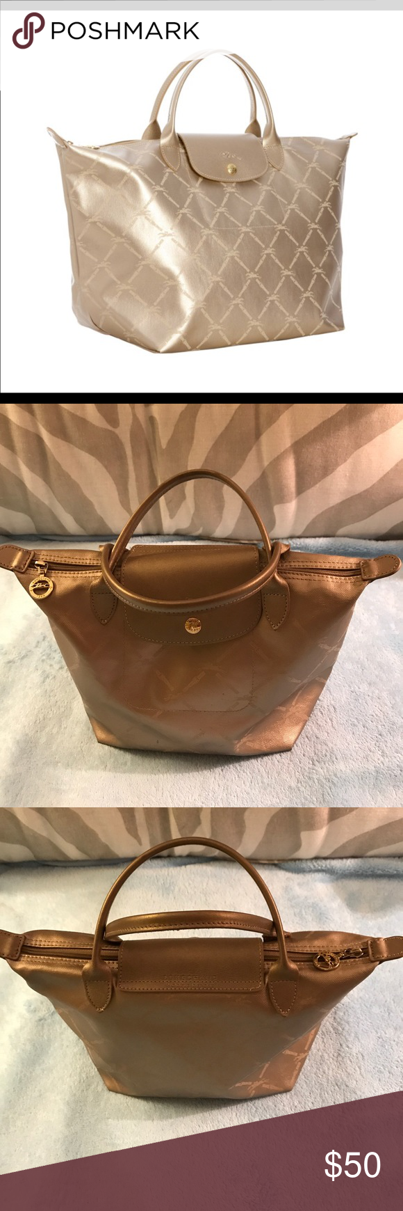 150b5ddbe412 Longchamp Longchamp mini tote metallic bag in short shoulder strap in good  used condition Longchamp Bags Mini Bags