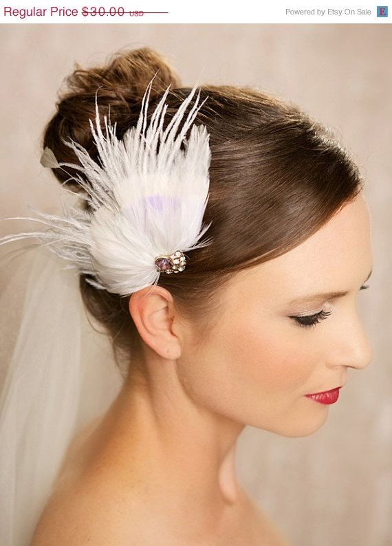 30 PERCENT OFF SALE Ivory and Purple Bridal by GildedShadows, $21.00