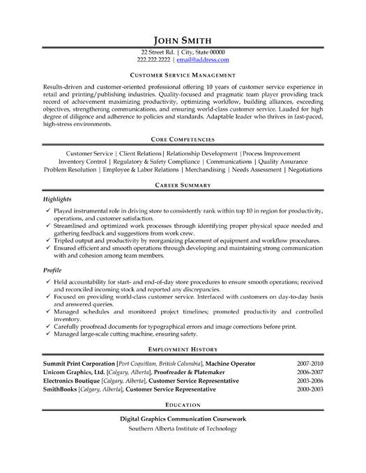 A Resume Template For A Customer Service Manager You Can Download