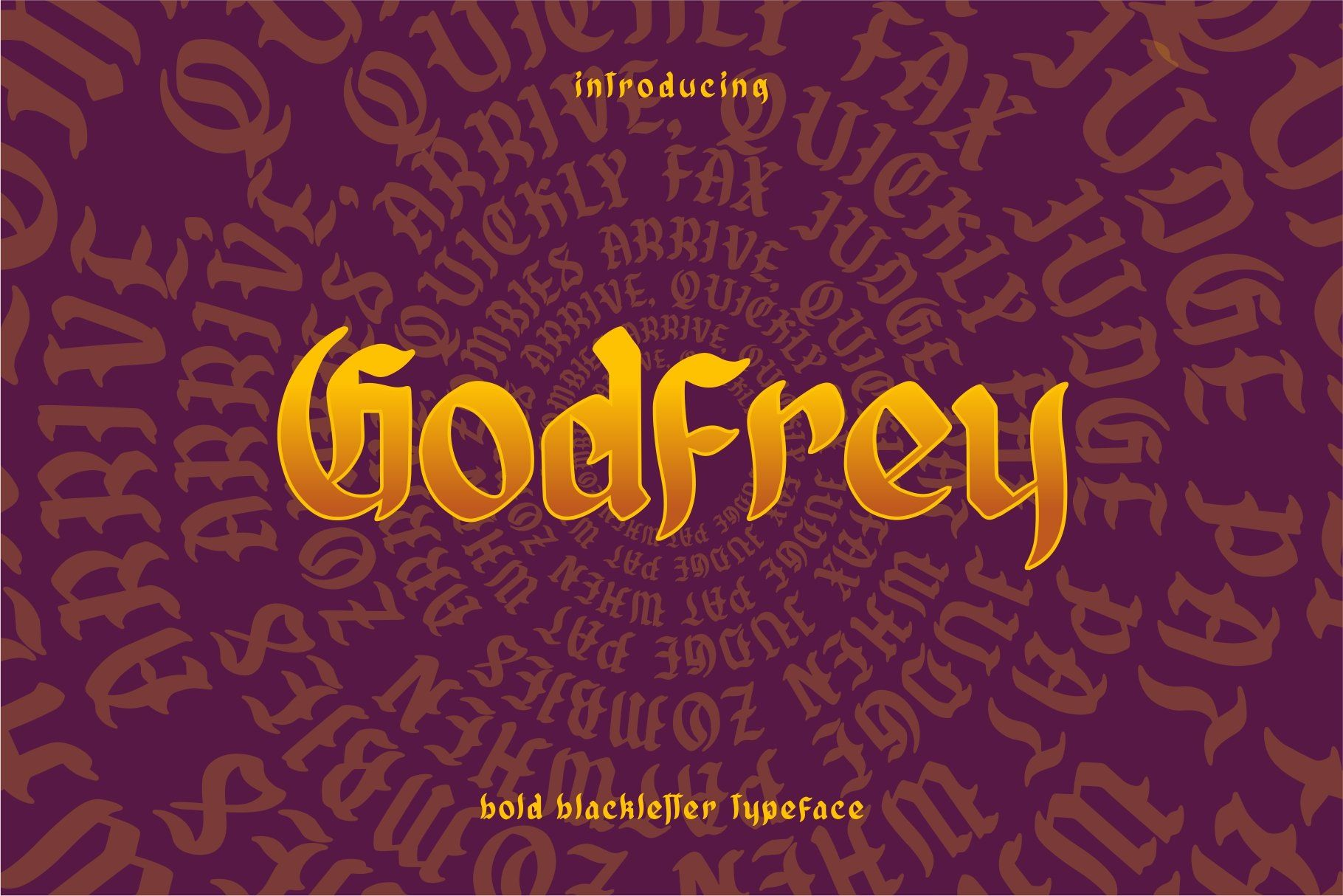 Godfrey bold blackletter new fonts pretty fonts poster