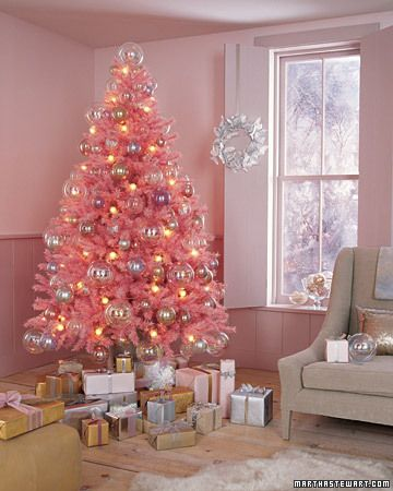 """If I were to buy my own fake Christmas tree, I think it would be this cotton candy pink tree! """"Pretty in Pink"""" tree, treetopia.com $259"""