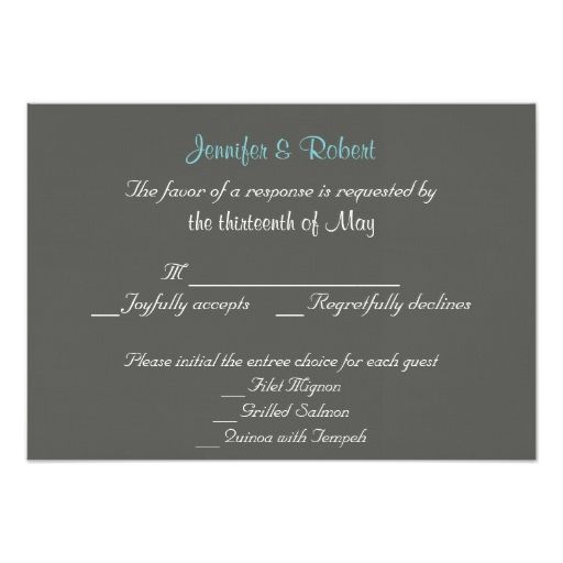 Charcoal and Aqua Chevron Wedding Response Card Invitation