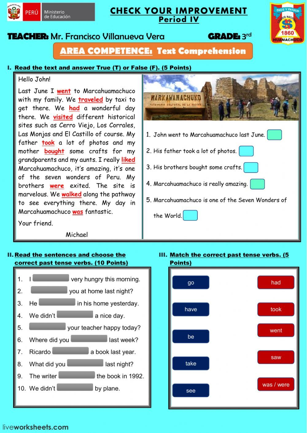 past simple interactive and downloadable worksheet. You can do the ...