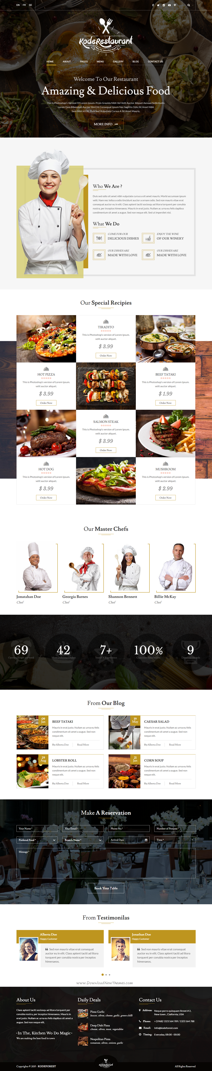 Food Court Is A Beautifully Designed Bootstrap Html5 Css Template For All You Foodies It Can Be Used To Share Recipes And Specially For Chefs And Cooking Ex