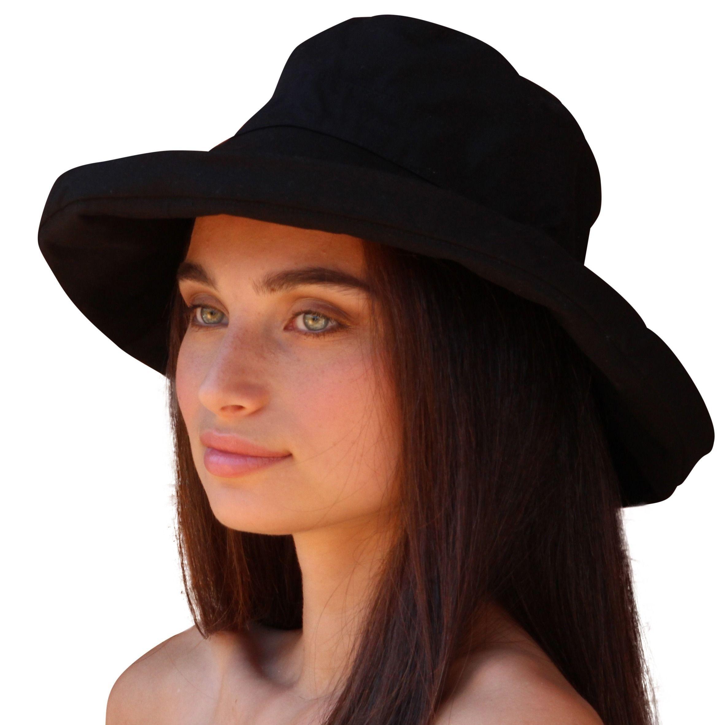 0f78225604314 Palms   Sand Women s Black Cotton Crushable Beach Sun Hat with UPF 50+ UV  Sun Protection (Black)