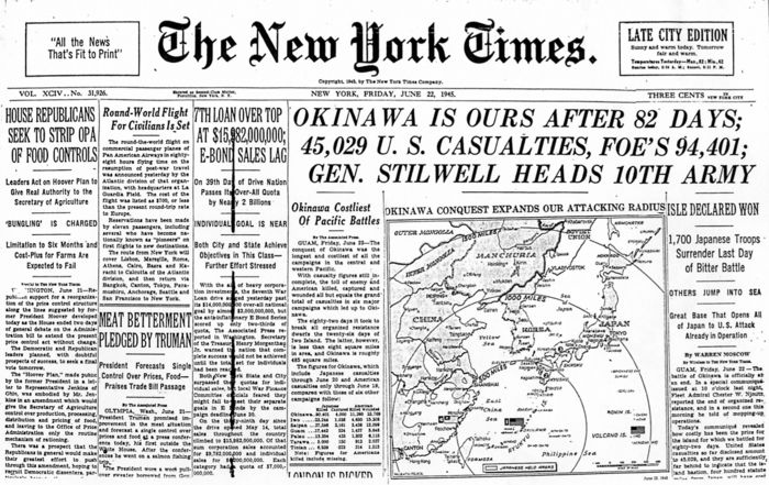 Image result for the battle of okinawa ends