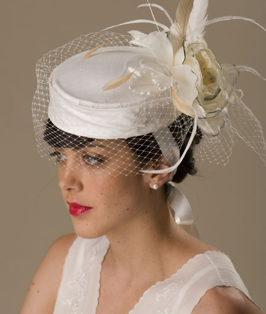 de227153622a8 Bridal 1950s Pillbox Hat with Birdcage Veil Silk Fascinator.  245.00 ...