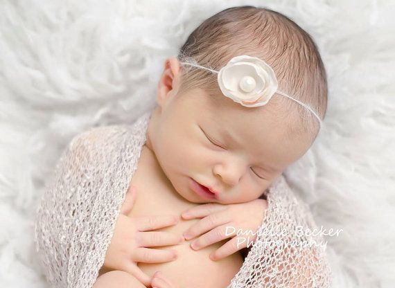 Newborn silk flower tieback Baby Girl Cream headband by mokumba, £5.00