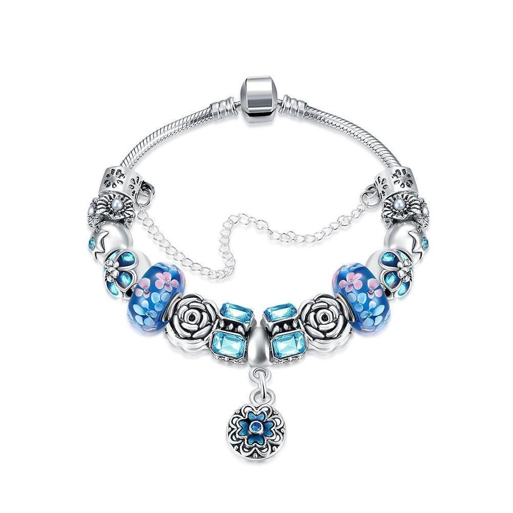 Royal Sky Blue Pee Emblem Pandora Inspired Bracelet Made With Swarovski Elements