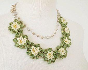 19a31e4e3373e Irish Crochet Lace Jewelry (Grape Vine) Bib Necklace, Fiber Art ...