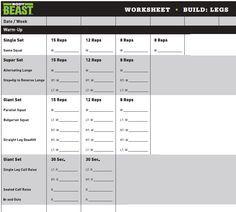 Body Beast Bulk Legs Workout Sheet  Girl Stuff Fitness Health