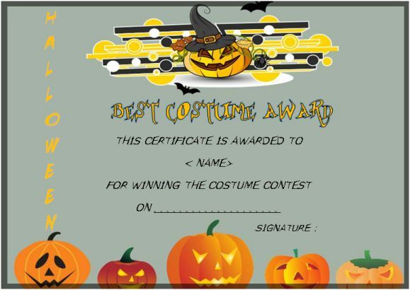 Best Costume Award Template Halloween Costume Certificate