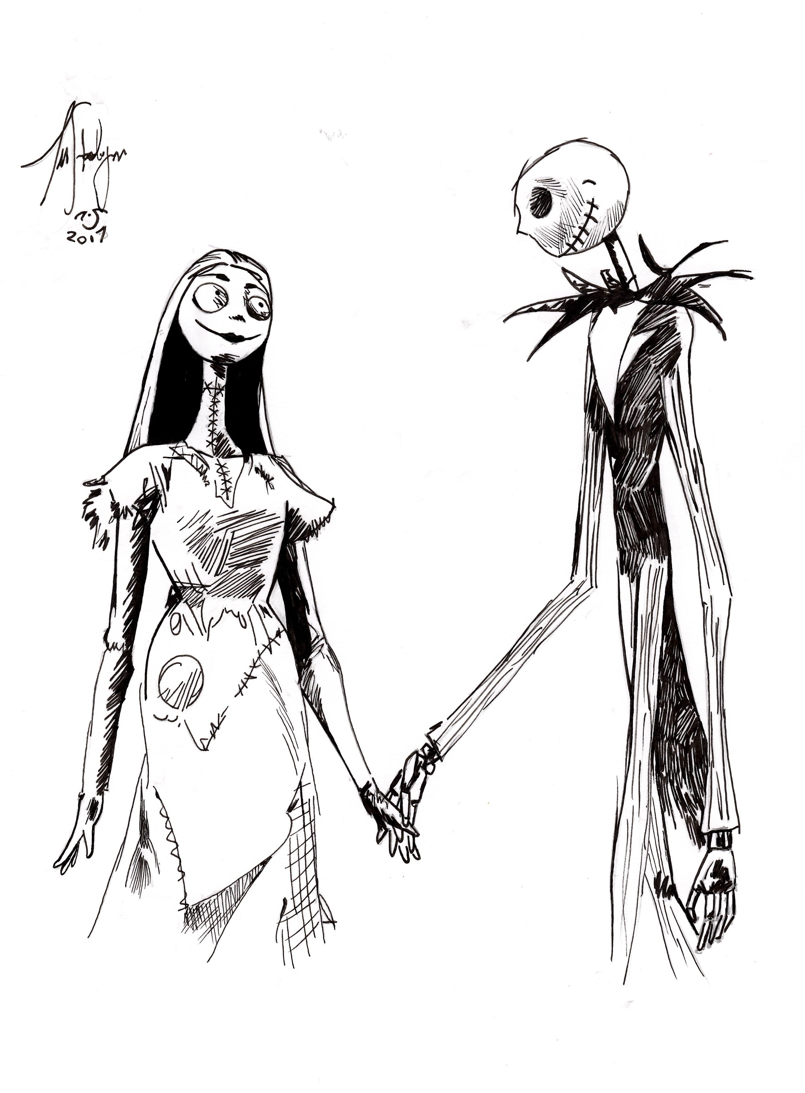 Jack Skellington And Sally In Nightmare Before Christmas
