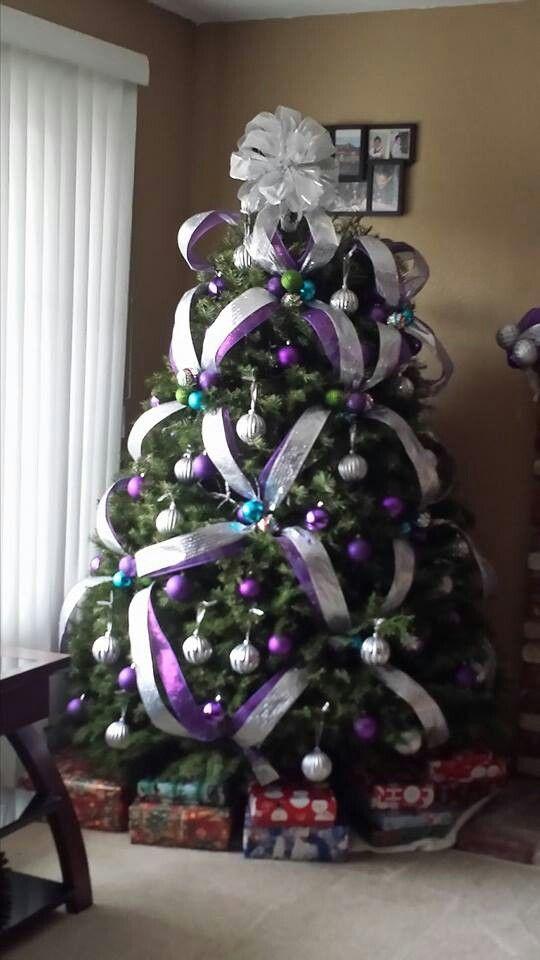 Arbol de navidad en morado y plata navidad - Arbol de navidad morado ...