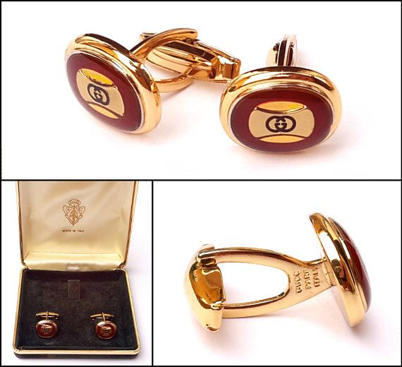 bce6a6a8e 80s Vintage Gucci Gold Plated GG-Motif Mens Cufflinks With Original Box Mens  Suit Accessory Cuff Links