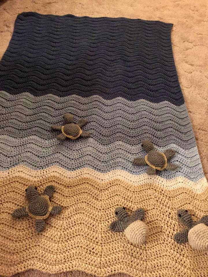 Crochet Turtle Blanket By Pjs Designs Double Crochet Ripple Stitch