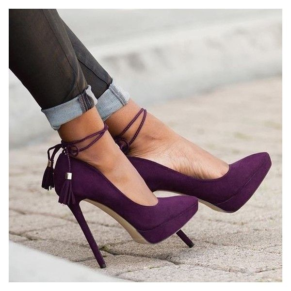 HP Purple Suede Platform Heels ❤ liked on Polyvore featuring ...