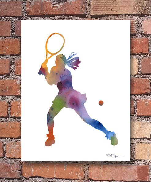 Tennis Player Abstract Watercolor Painting Art Print By Artist Dj Rogers Tennis Art Tennis Art Painting Abstract Watercolor Painting