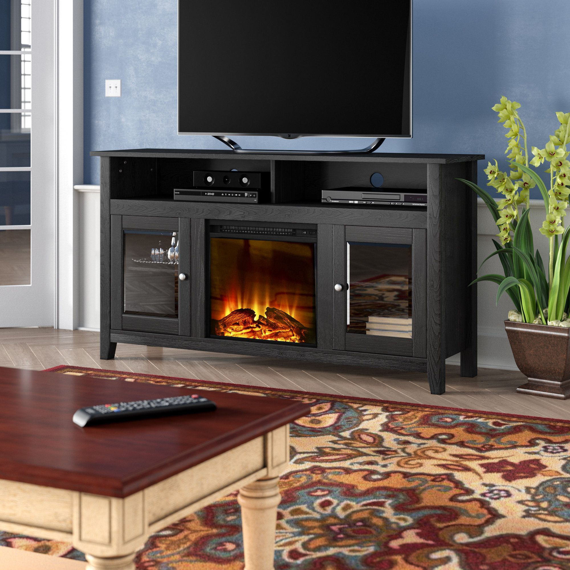 Kohn Tv Stand For Tvs Up To 65 With Electric Fireplace Included Electric Fireplace Tv Stand Fireplace Tv Stand Family Room Design