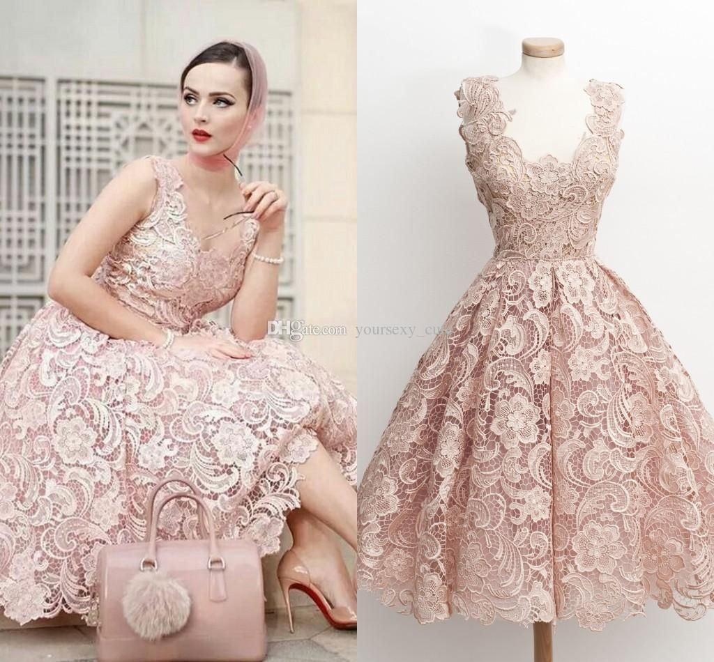99e728e3ee291 Chic day looks with a delicate lace short dress Fashion Pink Lace Short  Prom Dresses Scoop Neck Sleeveless Tea Length Princess Homecoming Dresses  Backless ...