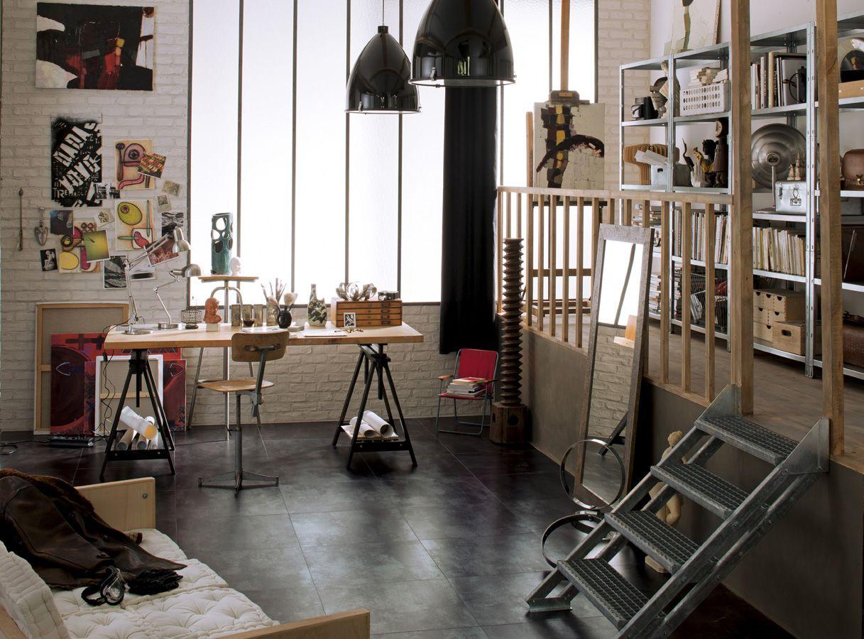 Esprit atelier et récup pour ce bureau | Rangements maison et bureau ...