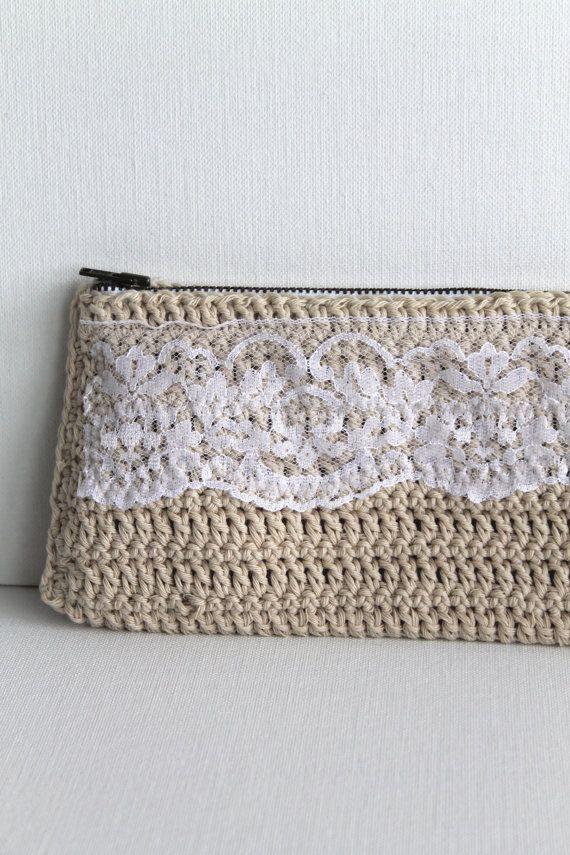 Crochet Clutch Purse Handmade Cream Lace By Creativecarmelina