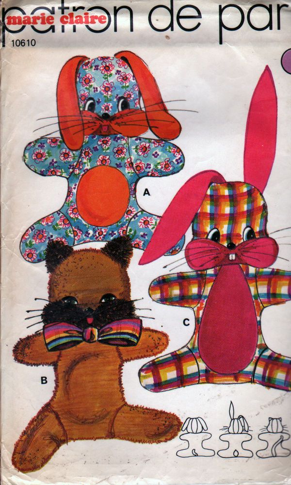 UNCUT Vintage French Sewing Pattern - Bunny, Dog & Cat Toys - Patron ...