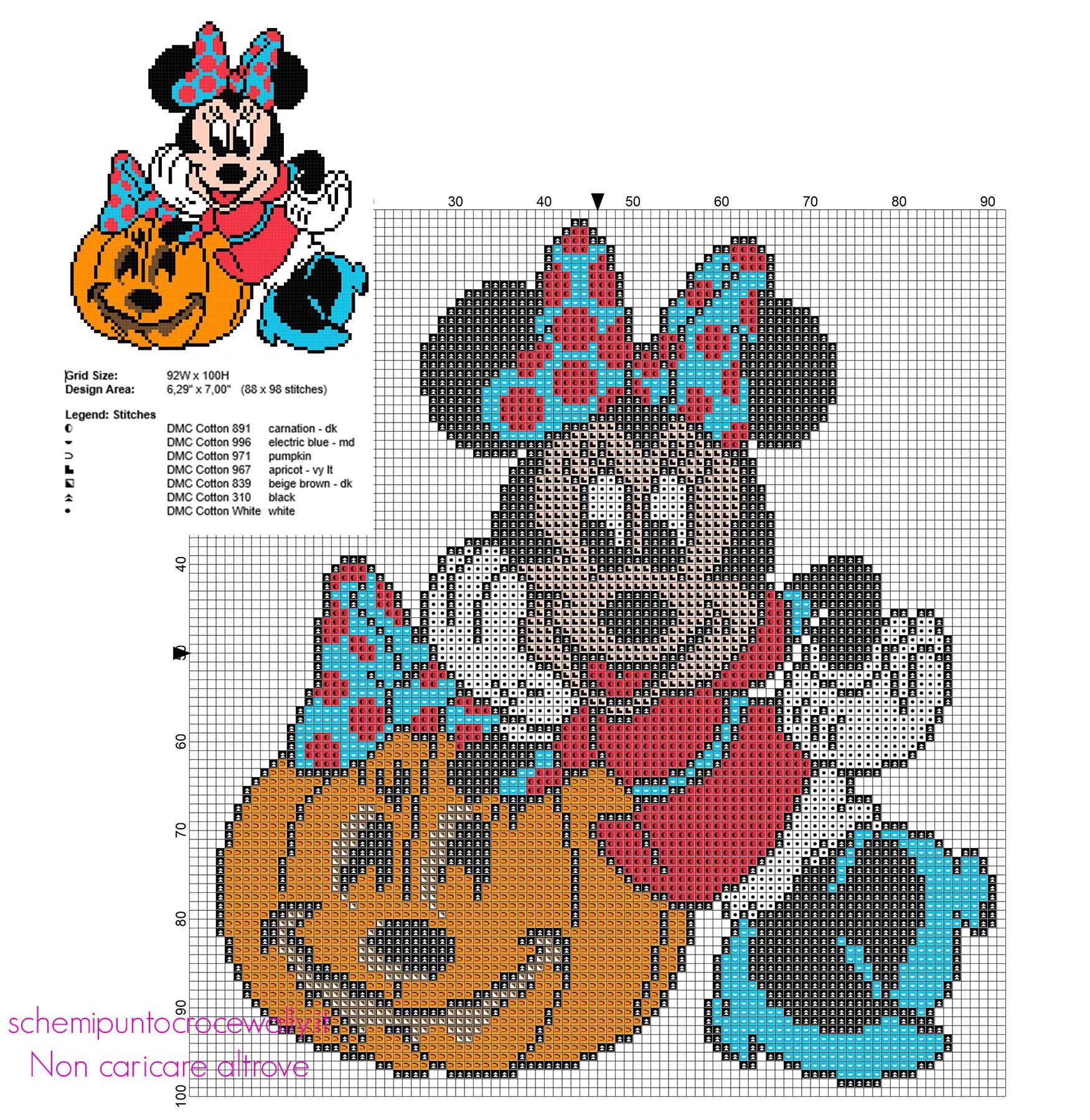 Minnie con zucca di Halloween schema ricamo punto croce gratuito ...