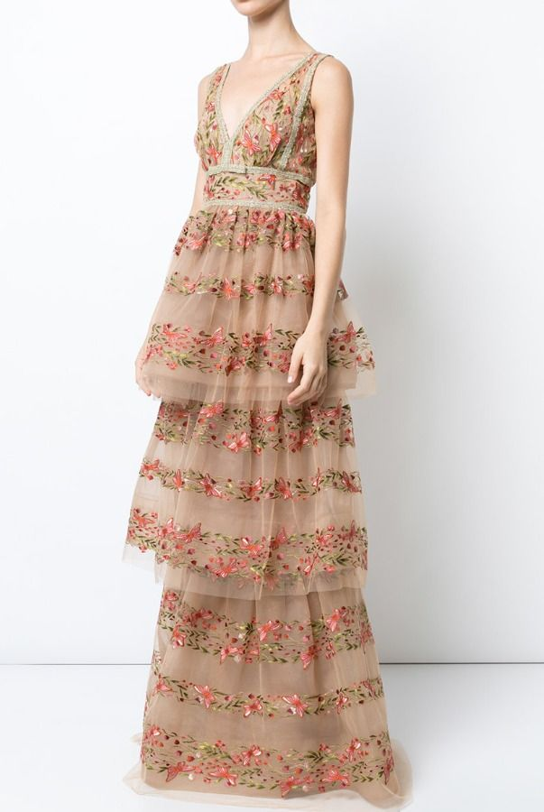 3D FLOWERS EMBELLISHED DRAPED COCKTAIL DRESS WITH FLOWER