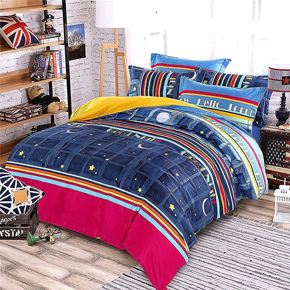 Night Sky Bedsheet Bedspread Star Moon Magenta Comforter Bed Bedding Set Queen King Twin 4 5pc Kids Boys Bed Comforters Queen Bedding Sets Quilted Duvet Cover