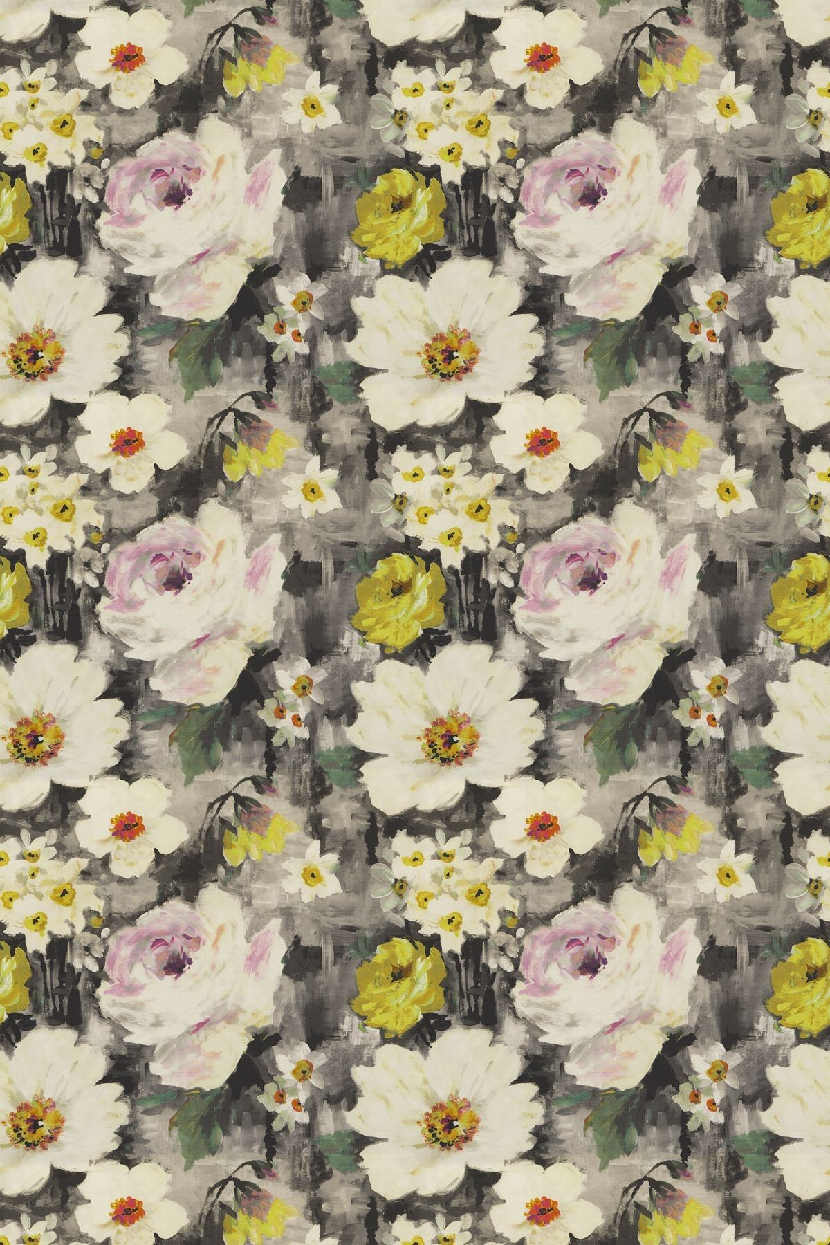 An elegant, large scale watercolor floral fabric with