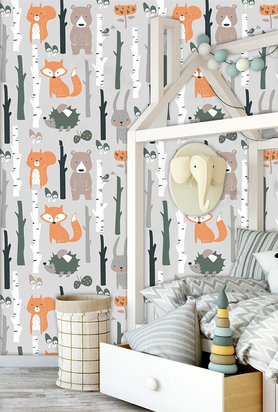 Removable Wallpaper Mural Peel Stick For Kids And Nursery Room Fox Bear Bunny Elk Hedgehog Birds