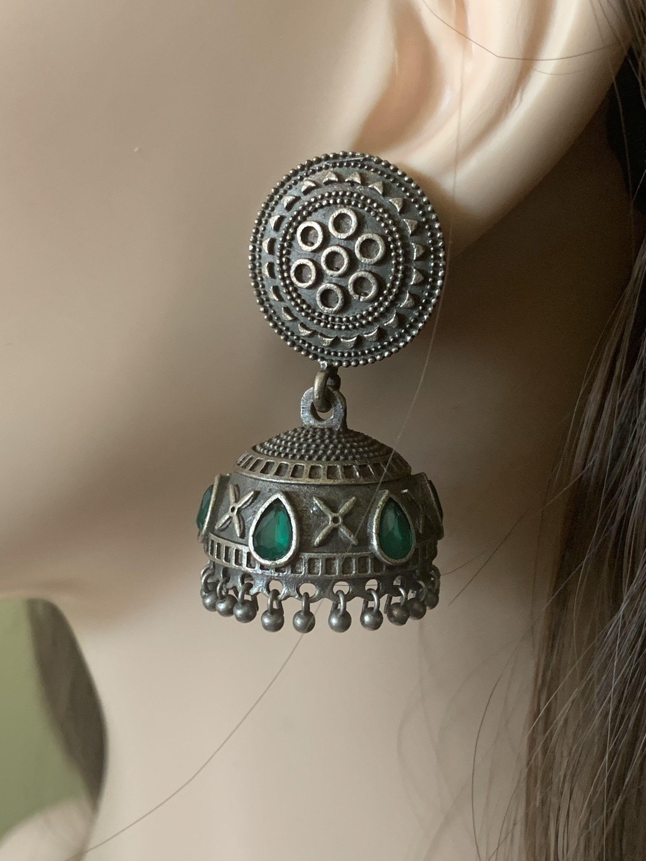 Oxidised Silver Indian Dangler Jhumka Mantra Earrings in German Silver Durga Jhumki Statement Earrings
