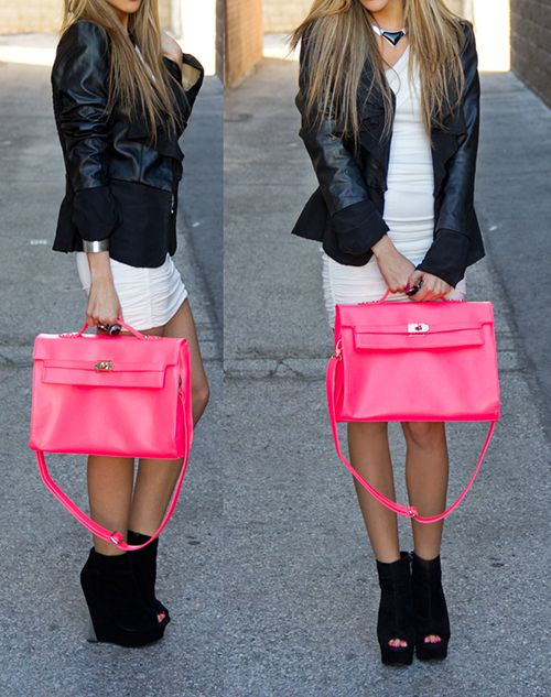 hot pink and leather