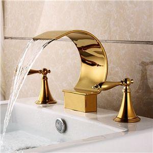 Contemporain ti pvd robinet d 39 vier double poign es trois - Double evier salle de bain ...