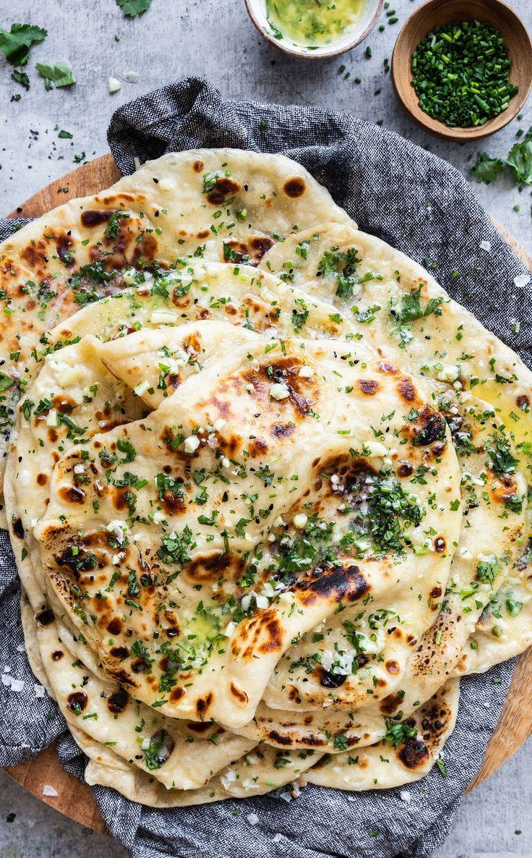Garlic Naan with Herbs #indianfood