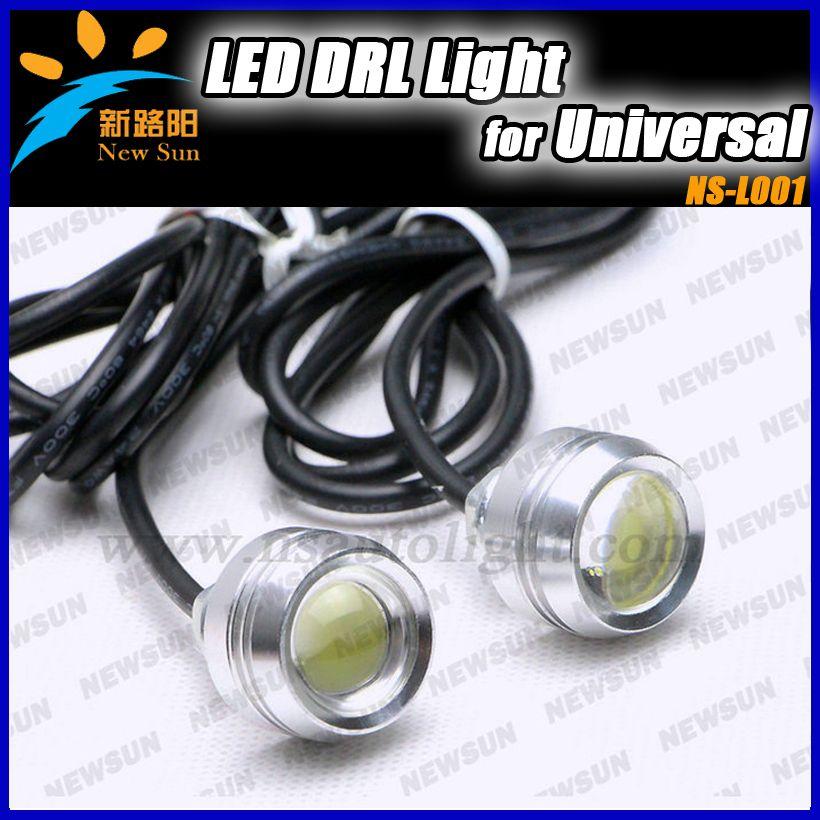 Car DIY 100% Waterproof Lens Eagle Eye Lights With Screws Alu Silver  Housing LED Daytime
