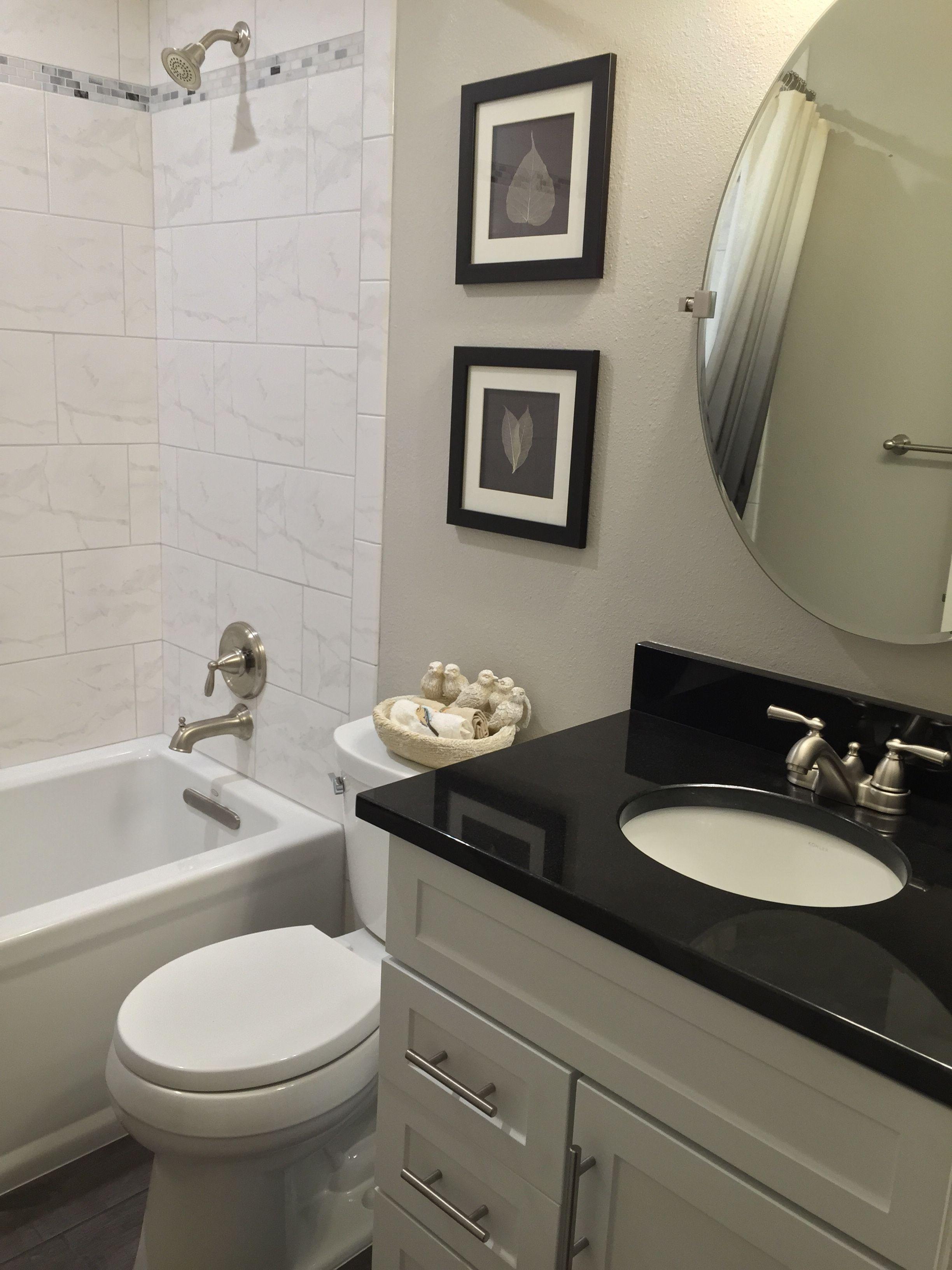 21+ Bathroom white cabinets black granite type