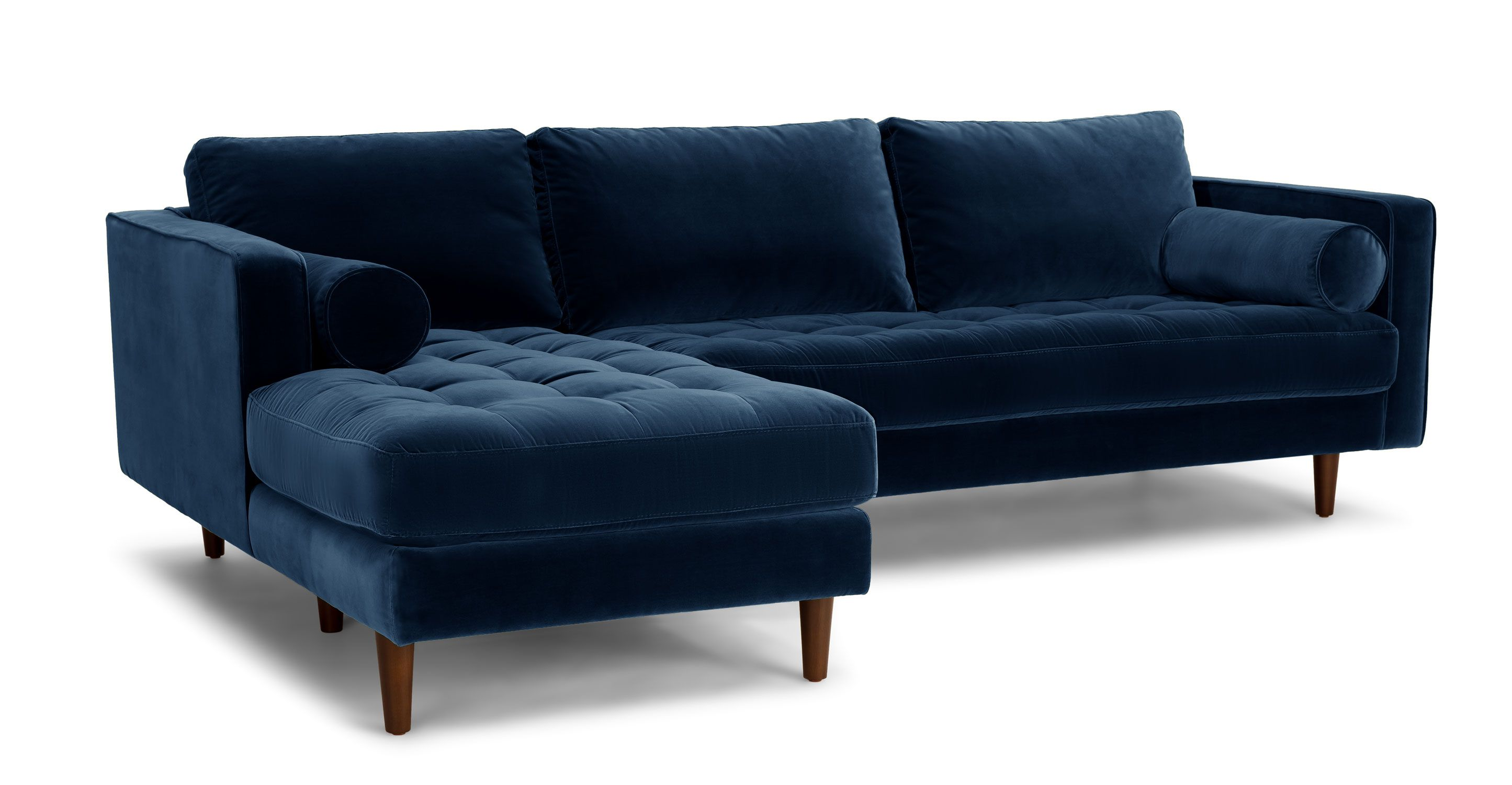 Dark Blue Velvet Left Sectional Tufted