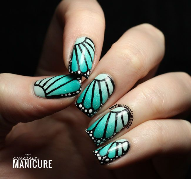 Teal Butterfly Wing Nail Art - Teal Butterfly Wing Nail Art (amateur Manicure) Nail Art Blog