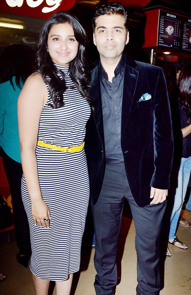 Parineeti Chopra is all smiles as she poses with Karan Johar at the trailer launch of Hasee Toh Phasee. #Fashion #Style #Bollywood #Beauty